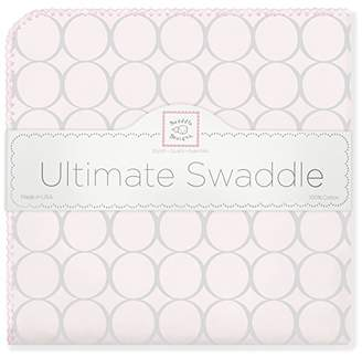 Swaddle Designs Ultimate Swaddle Blanket, Premium Cotton Flannel, Sterling Mod Circles on Sunwashed Pink