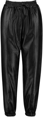 boohoo Leather Look Seam Front Joggers