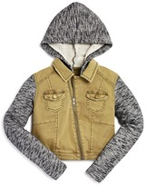 Aqua Girls' Marled French Terry & Twill Moto Jacket, Big Kid - 100% Exclusive
