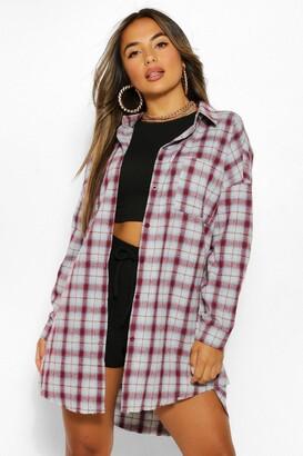 boohoo Petite Oversized Frayed Check Shirt