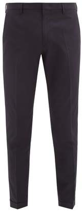 Paul Smith Turn Up Cuff Cotton Poplin Trousers - Mens - Navy