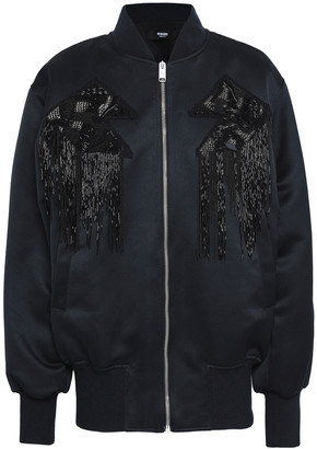 Versus By Versace Embellished Appliqued Satin Bomber Jacket