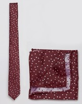 Asos Scattered Polka Tie And Pocket Square Pack In Burgundy
