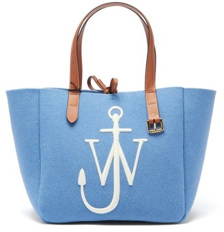 J.W.Anderson Belt Embroidered-anchor Wool-felt Tote Bag - Blue
