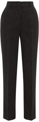 Dolce & Gabbana High-rise Floral-jacquard Suit Trousers - Black