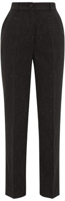 Dolce & Gabbana High-rise Floral-jacquard Tailored Trousers - Black