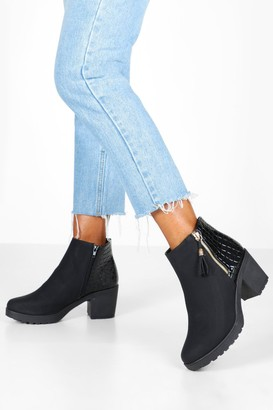 boohoo Croc Panel Zip Chunky Chelsea Boots
