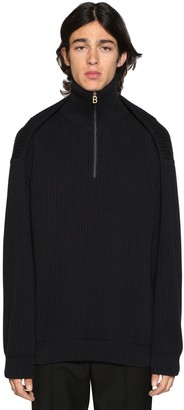 Balenciaga Pinched Zip-Up Cotton Sweater
