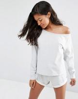 Asos LOUNGE Jersey Off the Shoulder Sweatshirt