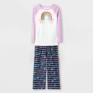 Cat & Jack Toddler Girls' Rainbow Pajama Set - Cat & JackTM White/Blue