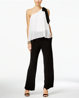 INC International Concepts Petite Colorblocked One-Shoulder Jumpsuit, Only at Macy's
