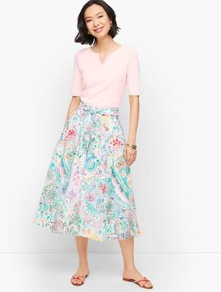 Talbots Festive Floral Pleated Midi Skirt