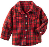 Osh Kosh 2-Pocket Sparkle Plaid Button-Front Top