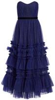 Marchesa Glitter Tulle Strapless Tea-Length Gown