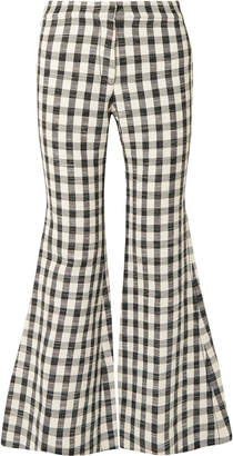 Derek Lam Gingham Cotton-blend Flared Pants