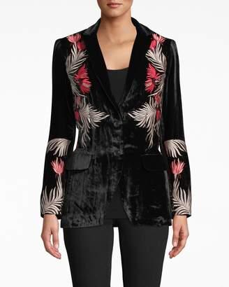 Nicole Miller Embroidered Velvet Blazer