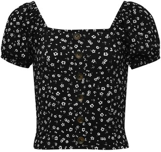 M&Co Teen ditsy puff sleeve top