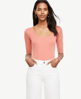 Ann Taylor Ribbed Pima Cotton Half Sleeve Scoop Neck Tee