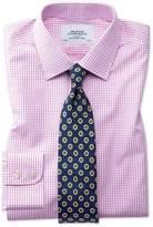 Slim Fit Non-Iron Grid Check Pink Cotton Dress Shirt Single Cuff Size 15/33 by Charles Tyrwhitt