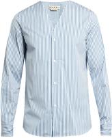 Marni Striped V-neck cotton-poplin shirt