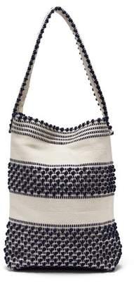 Antonello Tedde Pompom Woven Shoulder Bag - Womens - Navy White