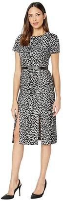 Calvin Klein Short Sleeve Animal Print Midi Dress w Logo Belt (Black/Cream) Women's Dress
