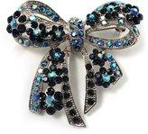 Avalaya Stunning Navy Blue Swarovski Crystal Bow Brooch (Silver Tone)