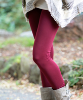 Burgundy Fleece Slim Leggings - Plus