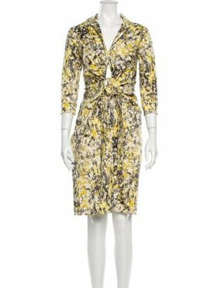 Samantha Sung Printed Knee-Length Dress w/ Tags Yellow