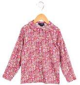 Oscar de la Renta Girls' Floral Button-Up Top