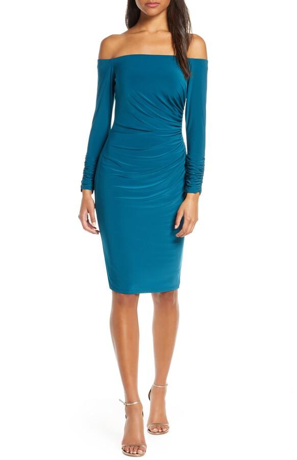 Eliza J Off the Shoulder Long Sleeve Ruched Cocktail Dress