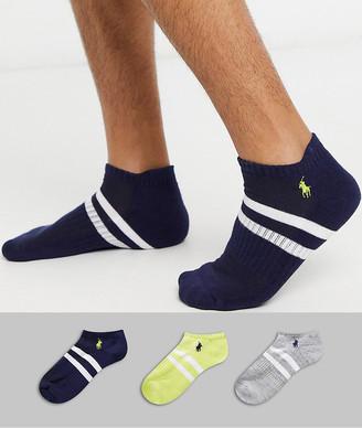 Polo Ralph Lauren bar stripe crew 3 pack socks in yellow/black/gray