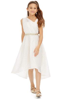 Sequin Hearts Big Girls Embellished One-Shoulder Dress