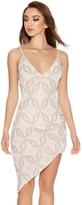 Quiz Nude Glitter Ruched Asymmetrical Dress