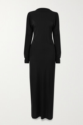 IOANNES Open-back Paneled Stretch-jersey Maxi Dress - Black