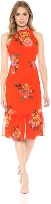 Donna Morgan Women's Printed Chiffon Midi Dress