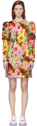 MSGM Multicolor Floral Ruched Sleeve Dress