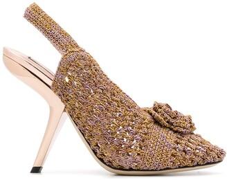 Marco De Vincenzo Floral Applique Knitted Sandals