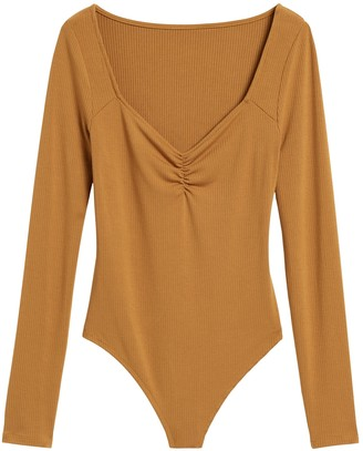 Banana Republic Petite Ribbed Sweetheart Thong Bodysuit