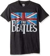 Bravado Men's Beatles Distressed British Flag T-shirt, Grey