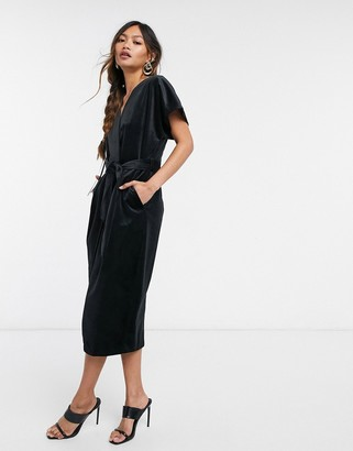 Closet London kimono sleeve velvet midi dress with wrap tie in black