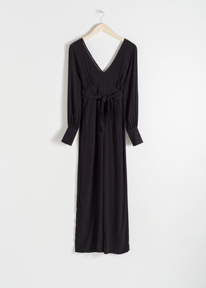 And other stories Plunging Belted Jumpsuit