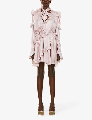 Off-White Ruffled crepe mini dress