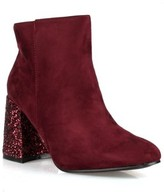 Nature Breeze Ankle High Women's Glitter Heeled Booties in Brgndy