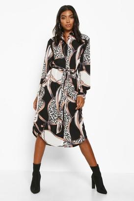 boohoo Tall Chain Print Midi Shirt Dress