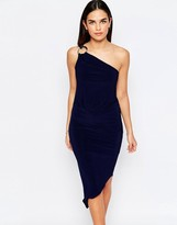 Jessica Wright Perry One Shoulder Asymmetric Hem Dress With Disc Detail