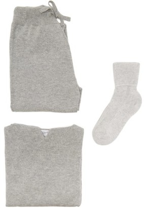 Johnstons of Elgin Cashmere Hooded Sweater, Track Pants And Socks - Light Grey
