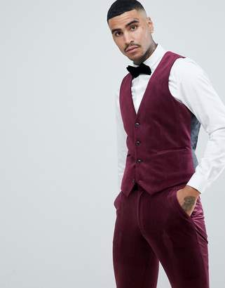 Asos Design DESIGN super skinny prom suit vest in burgundy velvet-Red