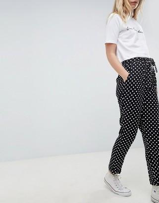 Asos Design DESIGN woven obi tie trousers in spot-Multi