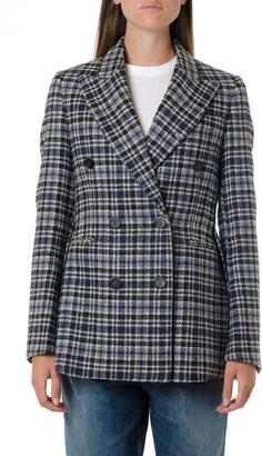 Golden Goose Black & Navy Wool Check Jacket